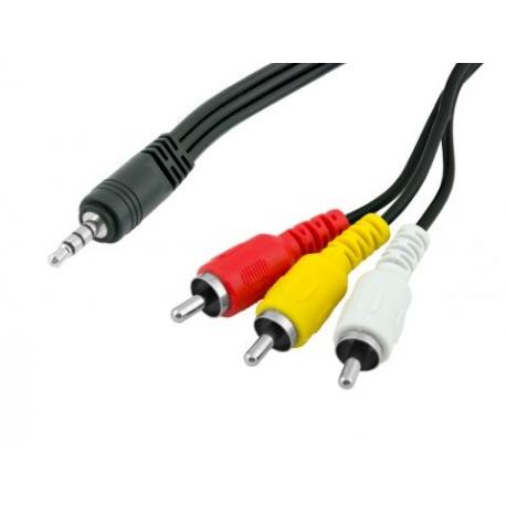 Prepojovací kábel Jack 3,5mm (M) 4pin - 3xRCA Cinch (M)